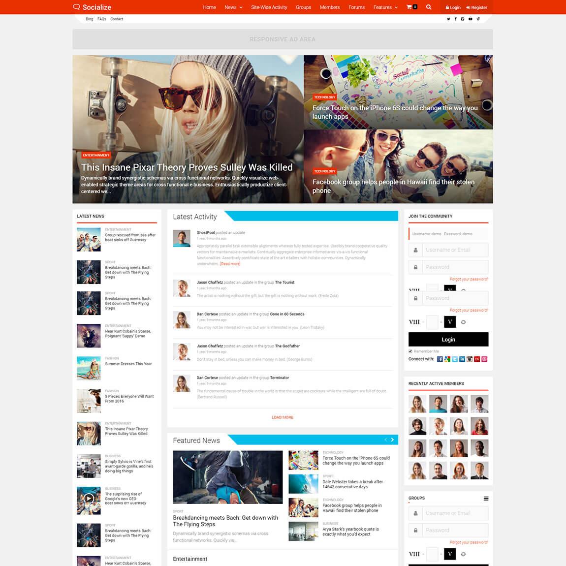 """socialize-wordpress-community-buddypress-theme """"width ="""" 1150 """"height ="""" 1150 """"srcset ="""" https://themegrill.com/blog/wp-content/uploads/2017/07/socialize-wordpress-community-buddypress -theme.jpg 1150w, https://themegrill.com/blog/wp-content/uploads/2017/07/socialize-wordpress-community-buddypress-theme-150x150.jpg 150w, https://themegrill.com/blog /wp-content/uploads/2017/07/socialize-wordpress-community-buddypress-theme-300x300.jpg 300w, https://themegrill.com/blog/wp-content/uploads/2017/07/socialize-wordpress- community-buddypress-theme-768x768.jpg 768w, https://themegrill.com/blog/wp-content/uploads/2017/07/socialize-wordpress-community-buddypress-theme-1024x1024.jpg 1024w, https: // themegrill.com/blog/wp-content/uploads/2017/07/socialize-wordpress-community-buddypress-theme-185x185.jpg 185w, https://themegrill.com/blog/wp-content/uploads/2017/07 /socialize-wordpress-community-buddypress-theme-310x310.jpg 310w, https://themegrill.com/blog/wp-content/uploads/2017/07/socialize-wordpress-commun ity-buddypress-theme-230x230.jpg 230w, https://themegrill.com/blog/wp-content/uploads/2017/07/socialize-wordpress-community-buddypress-theme-365x365.jpg 365w """"tamaños ="""" ( ancho máx .: 1150px) 100vw, 1150px """"></p> <p><strong>Socializar</strong> es multipropósito <strong>Tema BuddyPress para WordPress</strong>. Construido con una integración perfecta con BuddyPress y bbPress, puede crear un sitio completo de red social o sitio web de la comunidad utilizando el tema Socializar. Como su nombre indica, el tema pretende ayudar a las personas a ser más sociales y mantenerse conectadas en una red. El tema es rico en funciones y fácil de usar para que tanto los principiantes como los webmasters puedan crear sitios profesionales utilizando esto. El tema viene con cuatro diseños de página de inicio, nueve diseños de categoría y 6 diseños de publicaciones para elegir. Además, es compatible con el potente plugin de creación de páginas Visual Composer, que le permite crear cualquier ti"""