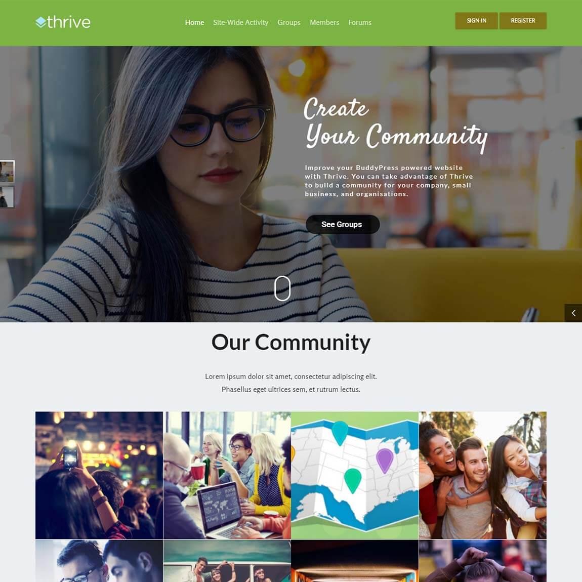 """Thrive-Community-wordpress-theme-with-buddypress-bbpress """"width ="""" 1150 """"height ="""" 1150 """"srcset ="""" https://themegrill.com/blog/wp-content/uploads/2017/07/Thrive-Community -wordpress-theme-with-buddypress-bbpress.jpg 1150w, https://themegrill.com/blog/wp-content/uploads/2017/07/Thrive-Community-wordpress-theme-with-buddypress-bbpress-150x150. jpg 150w, https://themegrill.com/blog/wp-content/uploads/2017/07/Thrive-Community-wordpress-theme-with-buddypress-bbpress-300x300.jpg 300w, https://themegrill.com/ blog / wp-content / uploads / 2017/07 / Thrive-Community-wordpress-theme-with-buddypress-bbpress-768x768.jpg 768w, https://themegrill.com/blog/wp-content/uploads/2017/07 /Thrive-Community-wordpress-theme-with-buddypress-bbpress-1024x1024.jpg 1024w, https://themegrill.com/blog/wp-content/uploads/2017/07/Thrive-Community-wordpress-theme-with- buddypress-bbpress-185x185.jpg 185w, https://themegrill.com/blog/wp-content/uploads/2017/07/Thrive-Community-wordpress-theme-with-buddypress-bbpress-310x310.jpg 310w, h ttps: //themegrill.com/blog/wp-content/uploads/2017/07/Thrive-Community-wordpress-theme-with-buddypress-bbpress-230x230.jpg 230w, https://themegrill.com/blog/wp -content / uploads / 2017/07 / Thrive-Community-wordpress-theme-with-buddypress-bbpress-365x365.jpg 365w """"tamaños ="""" (ancho máximo: 1150px) 100vw, 1150px """"></p> <p>Con su diseño sólido y características robustas, <strong>Prosperar</strong> El tema ha asegurado su lugar en nuestra lista de los mejores temas de BuddyPress. Thrive está totalmente integrado con BuddyPress, WooCommerce, bbPress y también es compatible con el tablero de aprendizaje. También ofrece potentes complementos cuidadosamente seleccionados para el rendimiento premium de su sitio web. Thrive se construye a partir del marco de subrayado, por lo que es muy rápido. Es un tema ligero sin funcionalidades externas fijadas con él. Resulta que es una de las mejores opciones para alguien que busca un tema comunitario atractivo, totalmente receptivo,"""