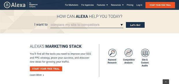 Alexa es una herramienta de análisis de la competencia en línea parcialmente gratuita