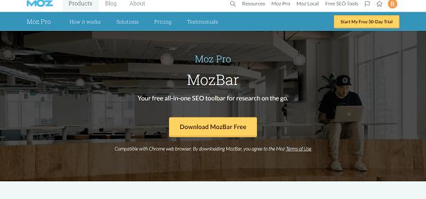 Complemento MozBar Google Chrome
