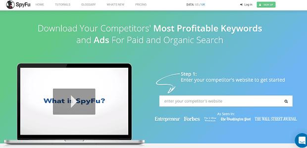 SpyFu Marketing de herramientas de análisis de la competencia