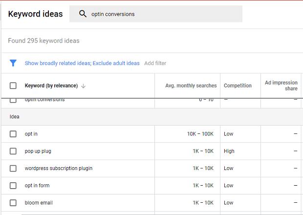 Herramienta SEO de Google Keyword Planner