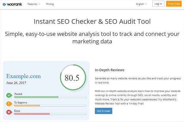 La mejor herramienta de análisis de competidores seo de WooRank