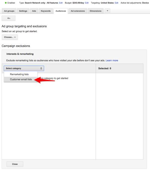 Listas de correo electrónico del cliente