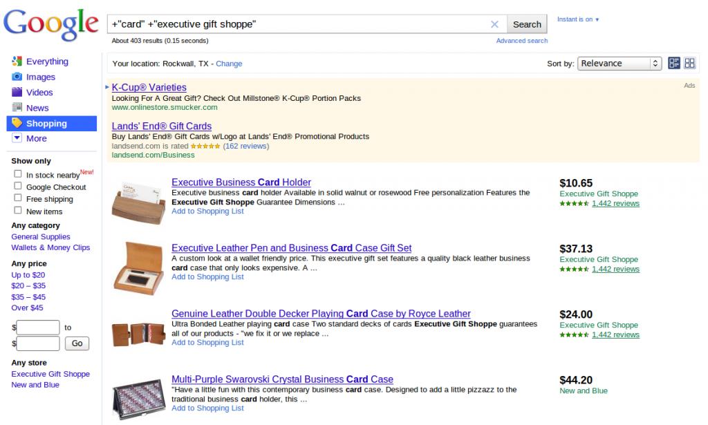 Tarjeta de compras ejecutiva de Google Shopping Shoppe