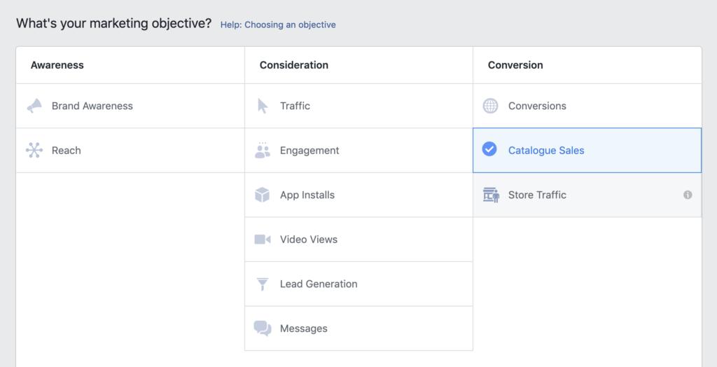 Facebook    Objectif de l'annonce