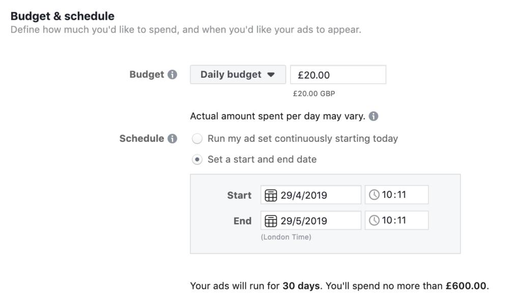 Facebook    Budget publicitaire quotidien