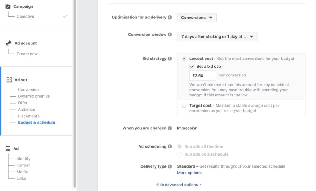 Facebook    Offre de coût publicitaire