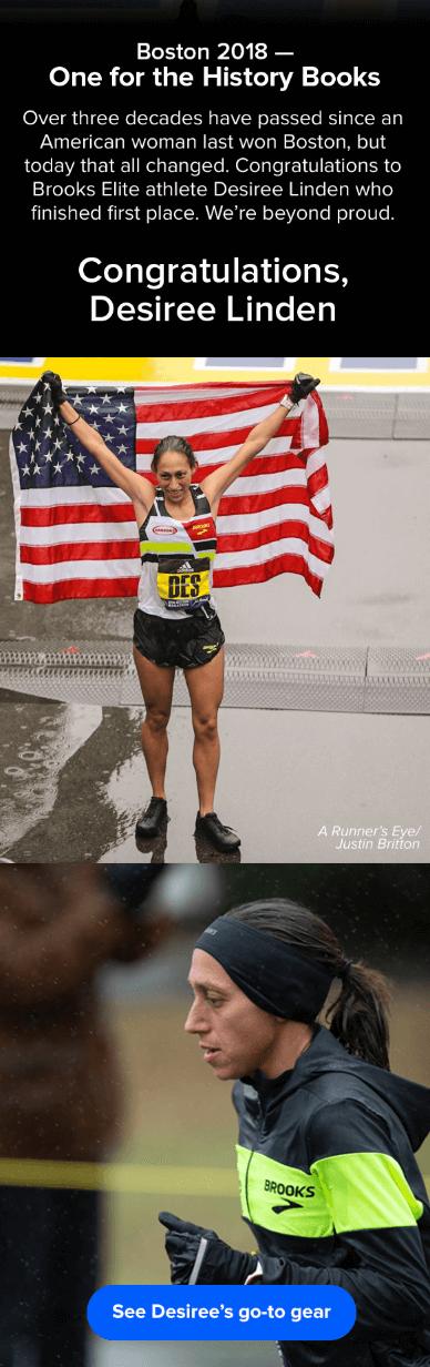 Ejemplo de campaña de marketing por correo electrónico de Brooks Sports con la victoria de Desiree Linden en el maratón de Boston de 2018