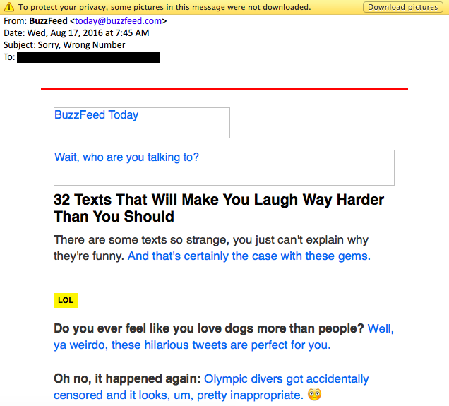 BuzzFeed correo electrónico sin imágenes.