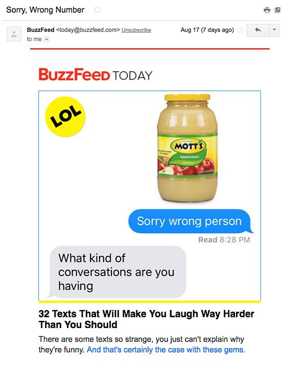 Ejemplo de campaña de marketing por correo electrónico de BuzzFeed Today