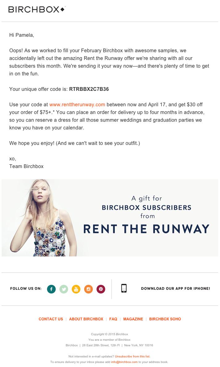 Ejemplo de campaña de marketing por correo electrónico de Birchbox con una promoción de comarketing