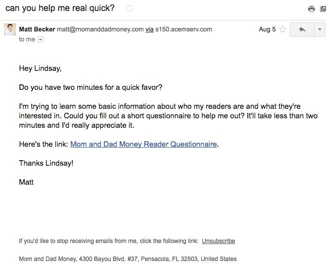 Ejemplo de campaña de marketing por correo electrónico de Matt Becker sobre cómo conocer a sus suscriptores