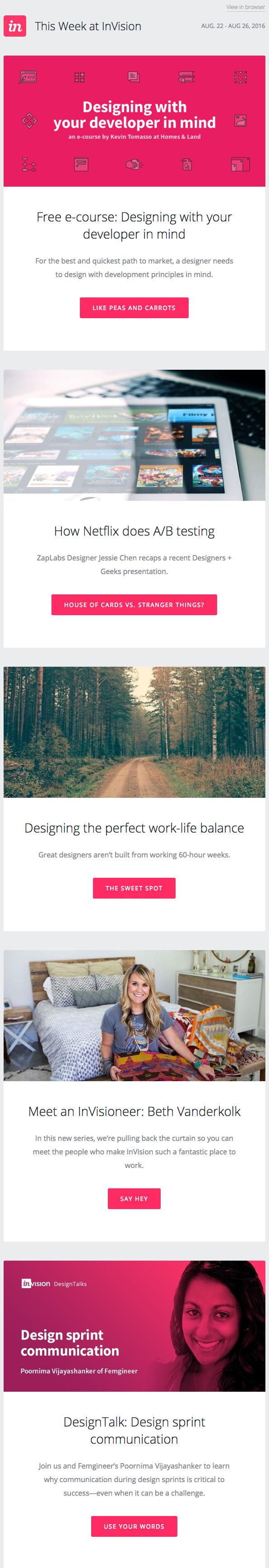 Ejemplo de campaña de marketing por correo electrónico de InVision para su boletín semanal del blog