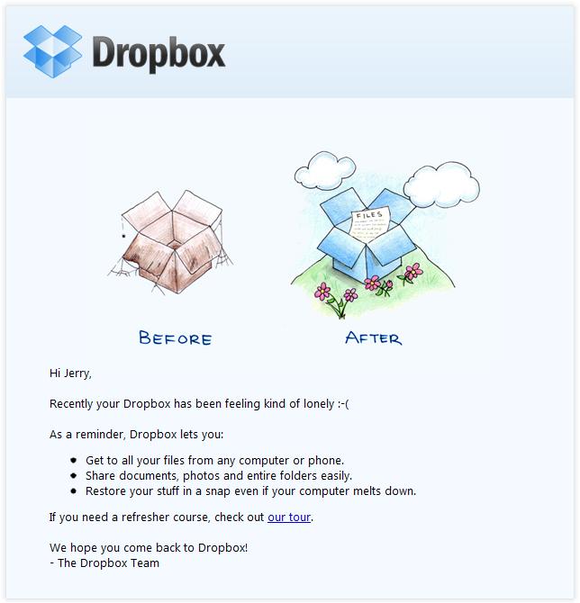 Ejemplo de campaña de marketing por correo electrónico de Dropbox intentando volver a involucrar a un usuario inactivo