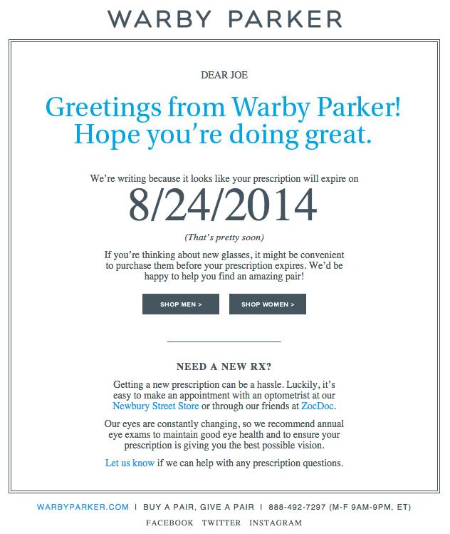 Ejemplo de campaña de marketing por correo electrónico de Warby Parker notificando al usuario la renovación del producto