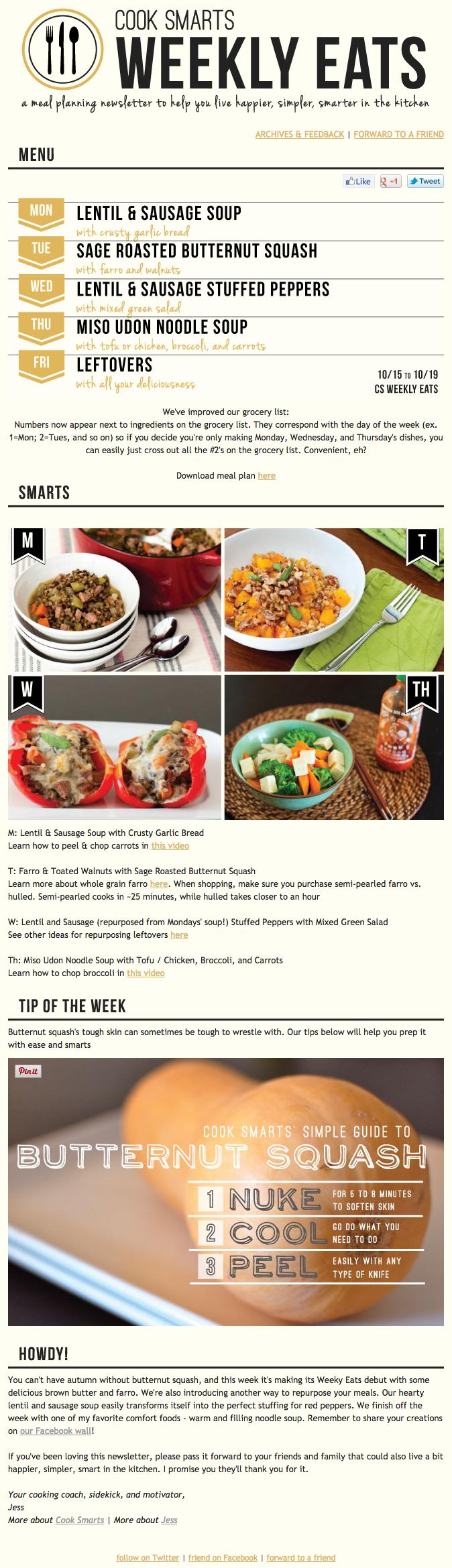 Ejemplo de campaña de marketing por correo electrónico de Cook Smarts en Weekly Eats