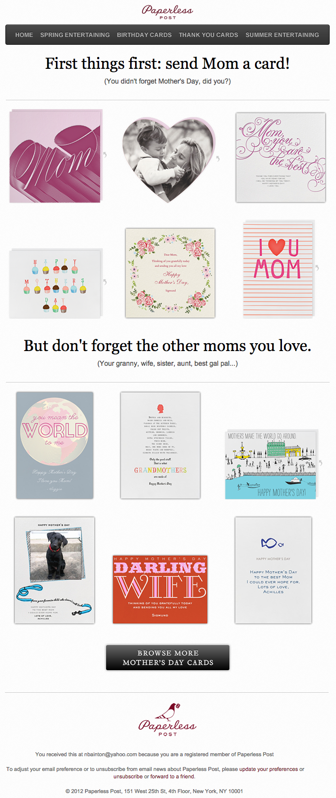 Ejemplo de campaña de marketing por correo electrónico de Paperless Post en el Día de la Madre