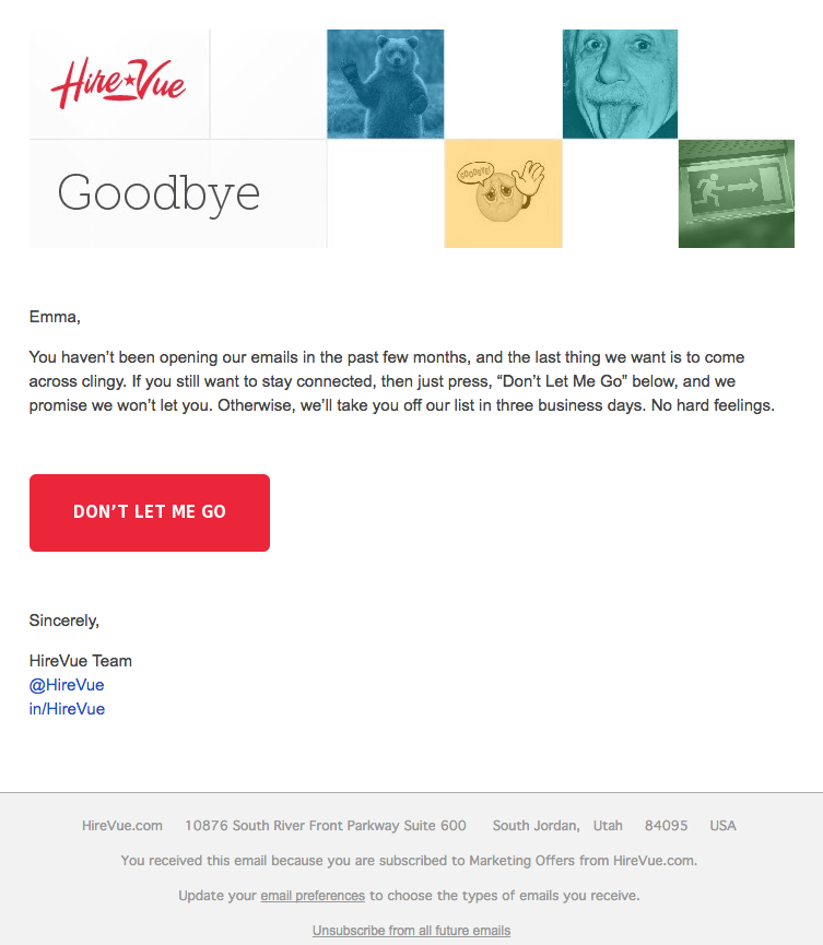 Ejemplo de campaña de marketing por correo electrónico de HireVue centrado en la retención de clientes