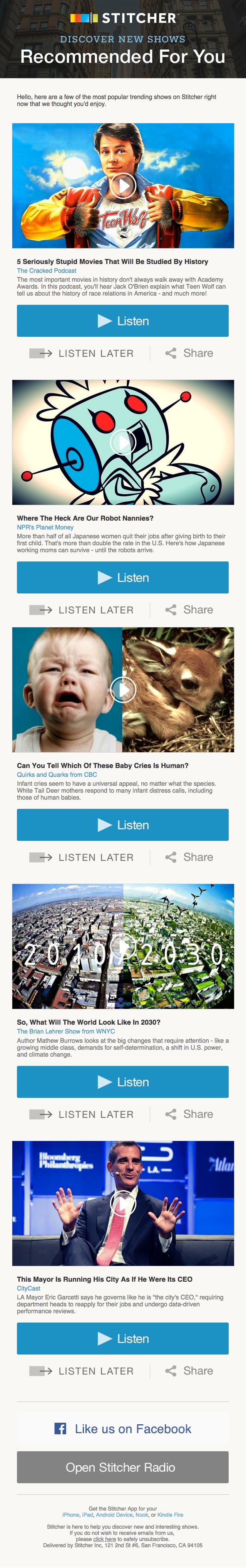 """Ejemplo de campaña de marketing por correo electrónico de Stitcher que muestra contenido """"Recomendado para usted"""""""