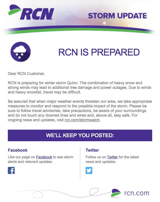 Ejemplo de campaña de marketing por correo electrónico por RCN alertando al usuario de actualizaciones de tormenta de invierno
