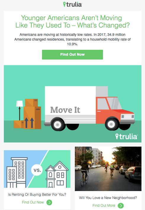 Ejemplo de campaña de marketing por correo electrónico de Trulia informando sobre tendencias en movimiento
