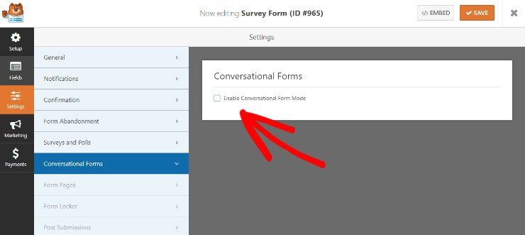 """wpforms-enable-conversational-forms """"width ="""" 740 """"height ="""" 331 """"class ="""" alignnone size-full wp-image-230007 """"srcset ="""" https://www.isitwp.com/wp-content/uploads/ 2019/02 / wpforms-enable-conversational-forms.jpg 740w, https://www.isitwp.com/wp-content/uploads/2019/02/wpforms-enable-conversational-forms-300x134.jpg 300w """"tamaños = """"(ancho máximo: 740 px) 100vw, 740 px""""></p> <p>Además, agregar su formulario a su sitio web de WordPress es muy fácil con WPForms, no es necesario tocar ningún código. Con solo 2 clics, puede agregar su formulario a cualquier página de su sitio o a cualquier publicación en su sitio. WPForms también viene con un widget que le permite mostrar su formulario en la barra lateral, pie de página o cualquier otra área de widget de un sitio web.  </p> <p><strong>Ganador</strong>: WPForms</p> <h3>Precios: WPForms vs. TypeForm</h3> <p><strong>TypeForm</strong></p> <p>TypeForm ofrece 3 planes de precios diferentes: Gratis, Pro y Pro +. Con todos los planes, puede crear formularios ilimitados. Pero con el plan gratuito, solo puede obtener 100 respuestas por mes y solo puede agregar 10 preguntas a cada formulario. </p> <p><img loading="""
