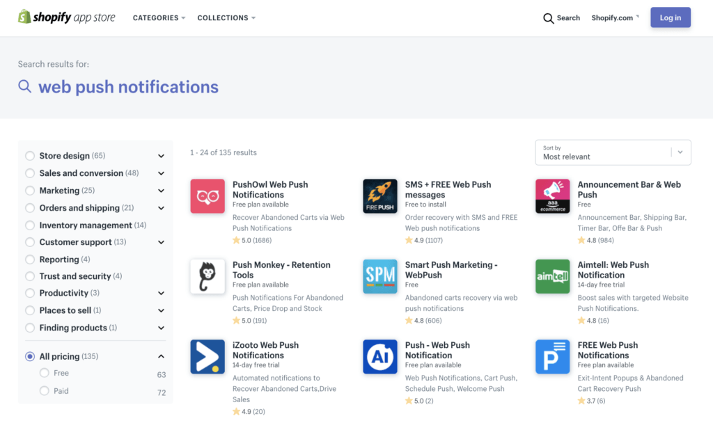 Notificaciones Push Shopify Apps