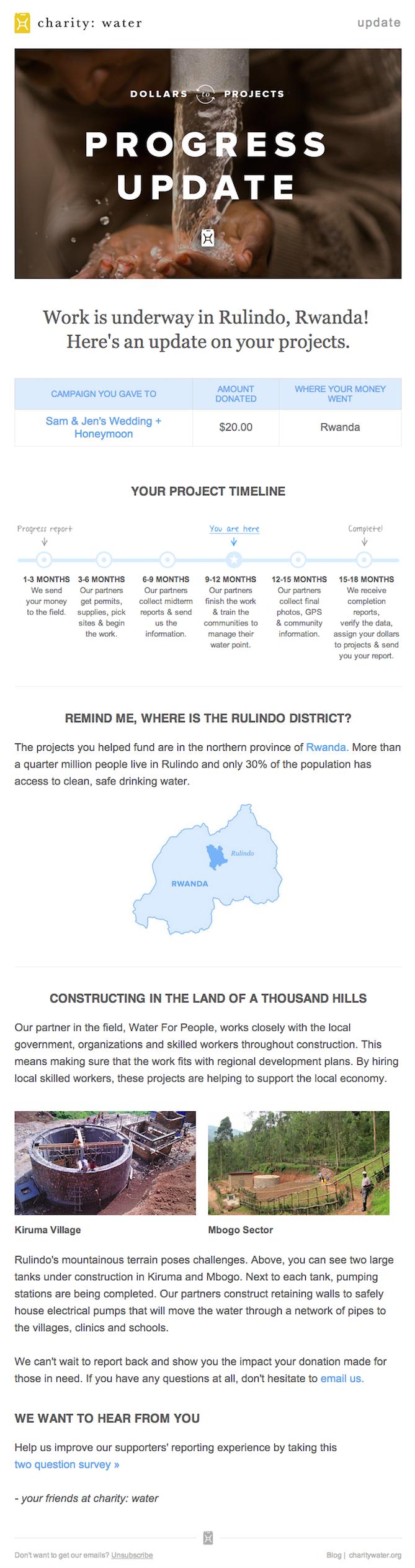 Ejemplo de campaña de marketing por correo electrónico de caridad: agua, que muestra una actualización del progreso de la donación