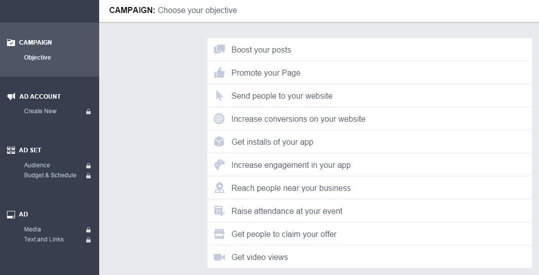 Administrador de anuncios Facebook Anuncio Elegir objetivo