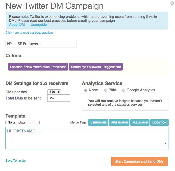 campaña de dm twitter