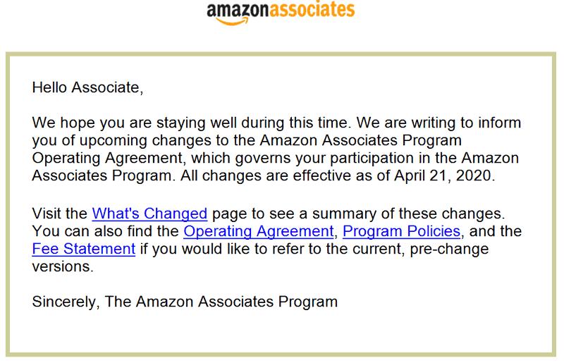 Kuvakaappaus sähköpostista osoitteesta Amazon kumppanit