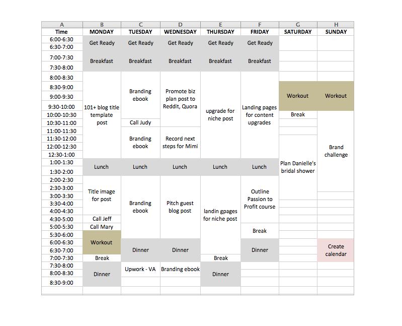 Una de las mejores formas de aumentar la productividad es crear un calendario visual con todas las tareas de su semana allí.