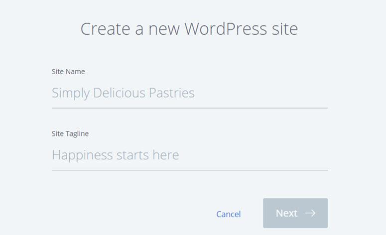 crear un nuevo sitio web de wordpress
