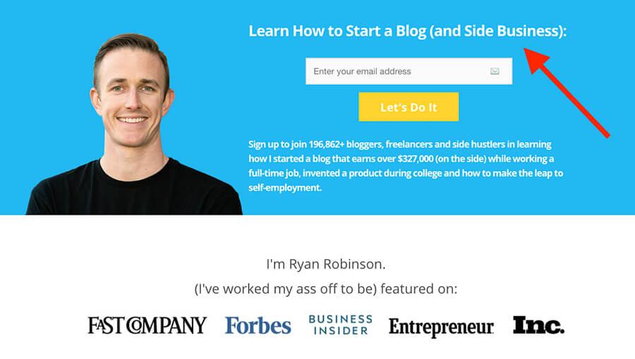 Cómo ganar dinero Blogging Ryan Robinson ryrob Homepage Captura de pantalla Ejemplo