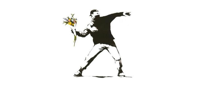 Banksy ilustración fondo blanco flores