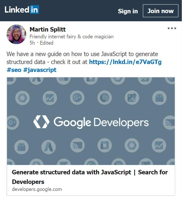 martin splitt-kopplade strukturerade data med javascript-annons