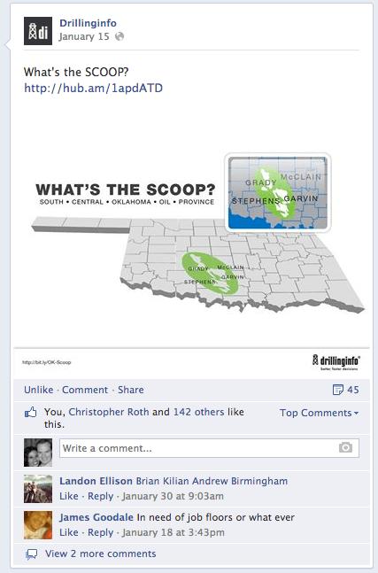 publicación de facebook de la compañía energética
