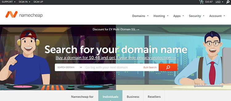 """namecheap-best-domain-registrar-company """"width ="""" 750 """"height ="""" 330 """"srcset ="""" https://themegrill.com/blog/wp-content/uploads/2017/08/namecheap-best-domain-registrar -company.jpg 750w, https://themegrill.com/blog/wp-content/uploads/2017/08/namecheap-best-domain-registrar-company-300x132.jpg 300w """"tamaños ="""" (ancho máximo: 750px ) 100vw, 750px """"></p> <p>Tal como lo sugiere su nombre, NameCheap es probablemente el mejor registrador de nombres de dominio para el registro de nombres de dominio barato (a un costo razonable) que tenga. Comenzado en 2000, NameCheap ya es el líder en el negocio de nombres de dominio. La compañía ha estado proporcionando TLD populares a un precio rentable junto con servicios incomparables que uno necesita junto con el registro de dominio.</p> <p>NameCheap es un proveedor de nombres de dominio acreditado por ICANN. La compañía tiene más de 10 millones de dominios bajo administración.</p> </p> <h4>Aspectos destacados principales de los dominios NameCheap:</h4> <ul> <li>Registrador de dominio acreditado por ICANN.</li> <li> <strong>Protección de WHOIS gratuita</strong> y los costos de suscripción de guardia de WHOIS también son absolutamente <strong>GRATIS</strong> para todos los TLD elegibles siempre que mantenga su dominio con Namecheap.</li> <li>Se proporciona una cuenta de correo electrónico integrada () de forma gratuita. Si desea correos electrónicos adicionales, cuesta <strong>$ 0.25 / mes</strong>. Además, puedes agregar <strong>Suite G</strong> correos electrónicos personalizados para <strong>$ 5</strong> por mes.</li> <li>Las transferencias de dominio a NameCheap son gratuitas, pero hay que renovar el dominio para la transferencia.</li> <li> <strong>Servicios adicionales</strong>: Agregue SSL con PositiveSSL para <strong>$ 8.88 / año</strong>. PremiumDNS para <strong>$ 4.88 / año</strong>.</li> </ul> <h4>Precios de NameCheap para TLD populares (primer año y renovación)</h4> <table class="""