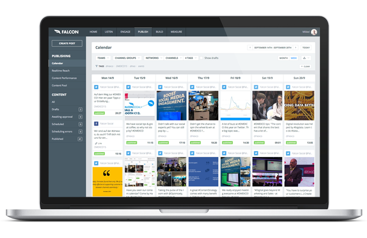 Un calendario editorial para las redes sociales permite una planificación eficiente del contenido durante la conferencia.