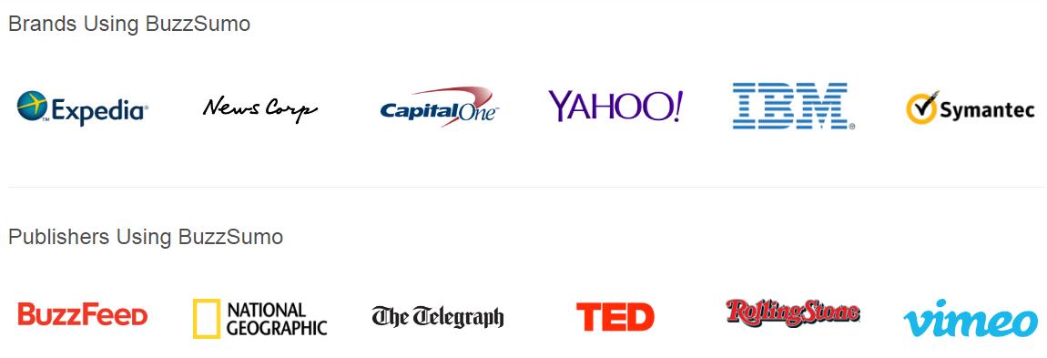 BuzzSumo trabaja con muchas marcas y editoriales.