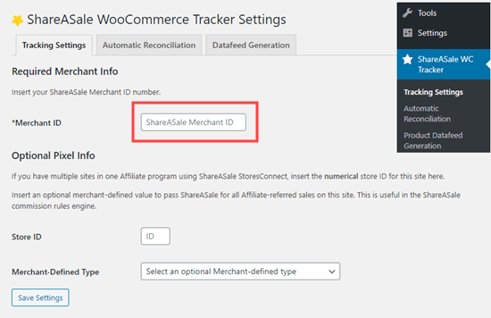 Vinculación del complemento ShareASale WooCommerce Tracker a su cuenta ShareASale