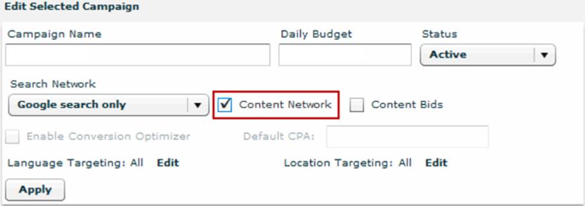 Configuración de orientación de Google de búsqueda y contenido