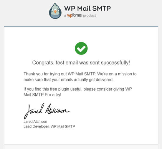 WP Mail SMTP -testi