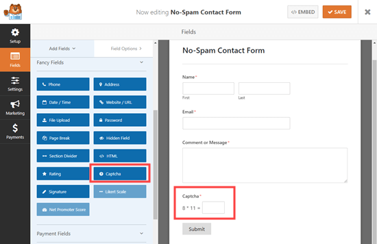 Agregar un campo captcha personalizado a su formulario