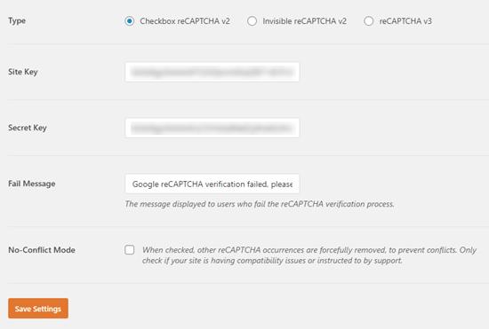 Ingresando su clave de sitio y clave secreta en WPForms