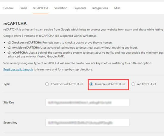 Selección de la opción invisible reCAPTCHA en WPForms