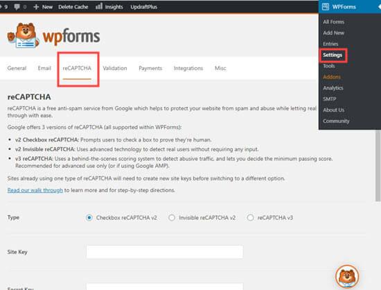 La página de configuración de reCAPTCHA en WPForms