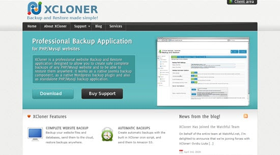 XCloner plugin for WordPress