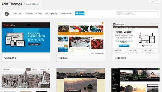 WordPress-də yapışdırın 3.9 yeni bir mövzu ekranı əlavə etdi
